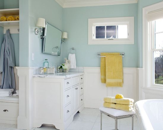 soft yellow bathroom ideas Benjamin Moore Woodlawn Blue (master bath color) now for