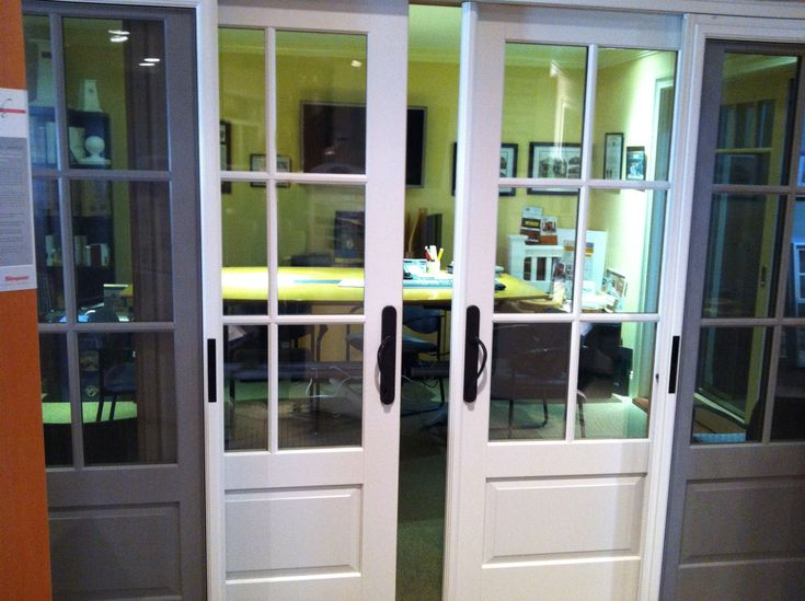 The Marvin Ultimate Biparting Sliding French Door in our showroom in Asbury Park NJ  Doors