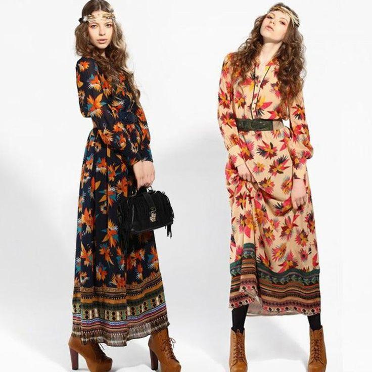 bohemian wear for women  Wholesale New Fashion Bohemian DressWomens casual dresses maxi dress