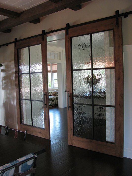 Glass barn doors…Gives charm and a rustic feel to any home, love being able to separate rooms, but open them completely as if