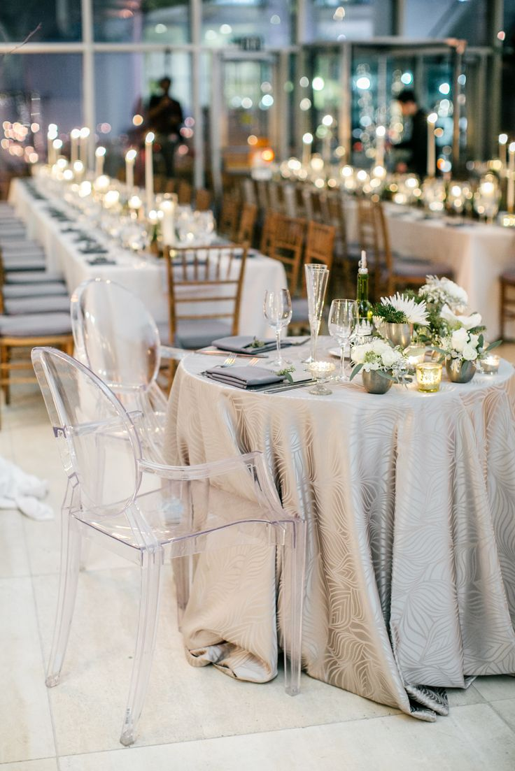tables and chairs meaning wayfair chaise lounge sweetheart table with silver linens white flowers   he & green pinterest ...