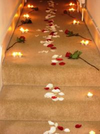 Romantic Candles And Roses Bedroom A rose petal path ...