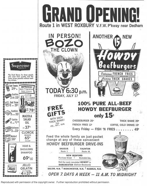 ad from Howdy Beefburger... a Massachusetts based chain