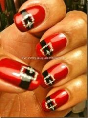 cute santa claus belt nails