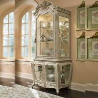 Vintage Antique White Curio Cabinet China Buffet & Hutch ...