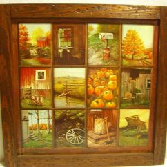 Kitchen Cabinet Decor Pop Up Electrical Outlet For Vintage Homco Home Interior B Mitchell Window Pane Picture ...