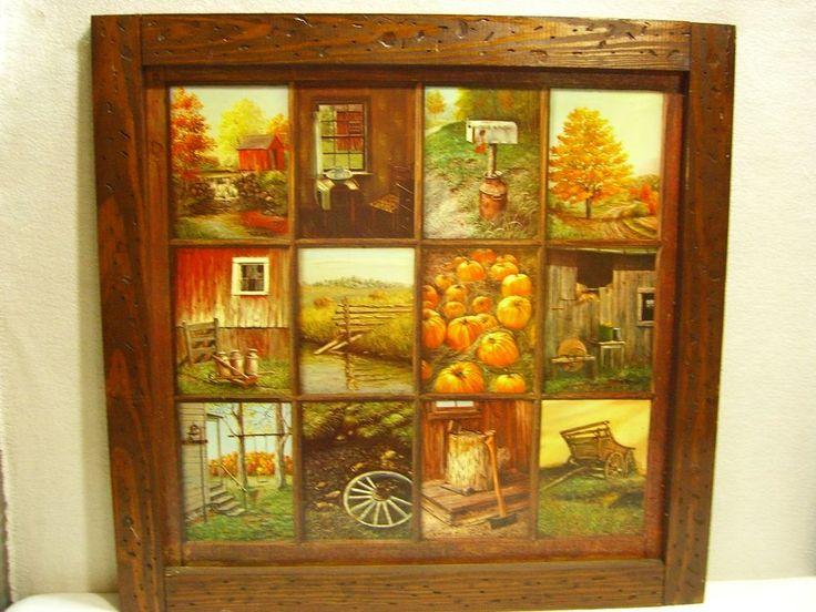 kitchen cabinet decor island stools vintage homco home interior b mitchell window pane picture ...