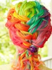 insanely beautiful curly rainbow