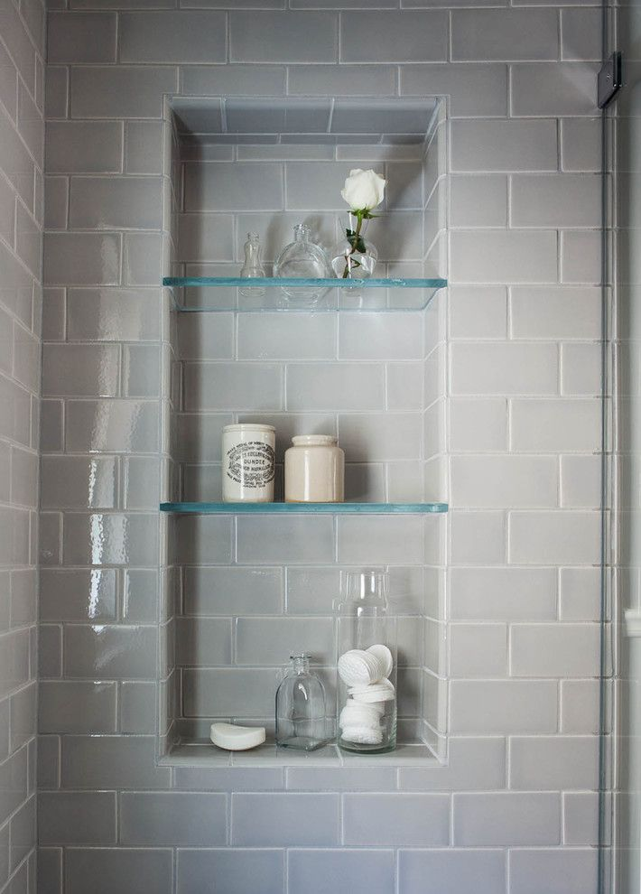 Gray Subway Tile In Shower With Matching Grout Shower
