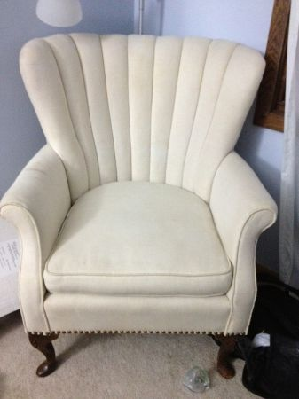 Beautiful Antique Channel Back Upholstered Chair  Queen