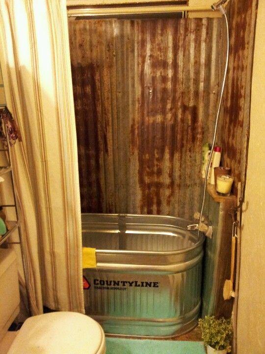 Rustic bath made from a trough  Rustic Bathroom