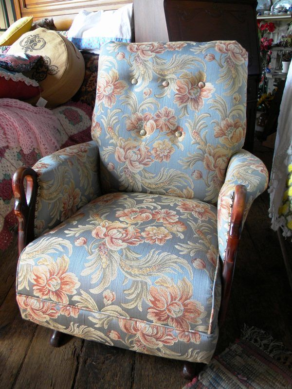 Antique Rocking Chair With Swan Arms Newly Refurbished