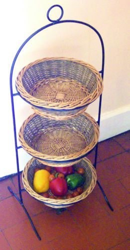 cream colored kitchen cabinets hanging 3 tier willow basket vegetable, fruit & sundries storage ...