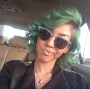 green hair cute short black