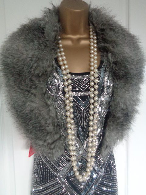 NEW 1920s 30s Flapper Inspired Grey Faux Fur Luxury