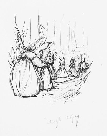 Preliminary sketch for Peter Rabbit Beatrix Potter: The