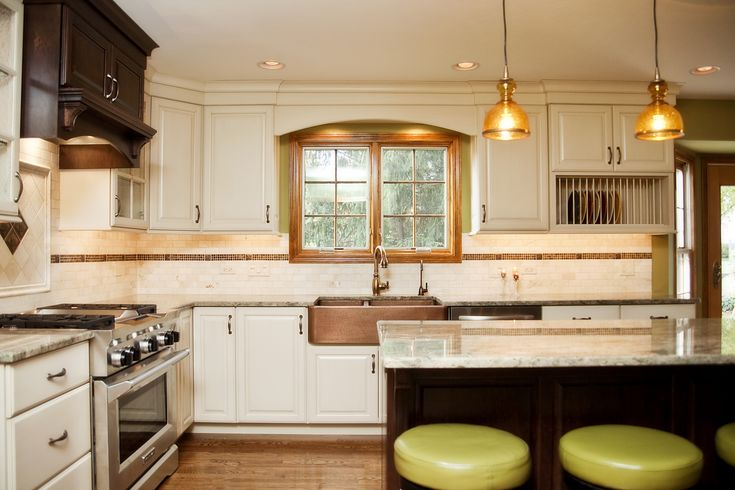 Two-tone Oak Kitchen Cabinets Hint Of Green: Two Tone Kitchen With Copper Accents