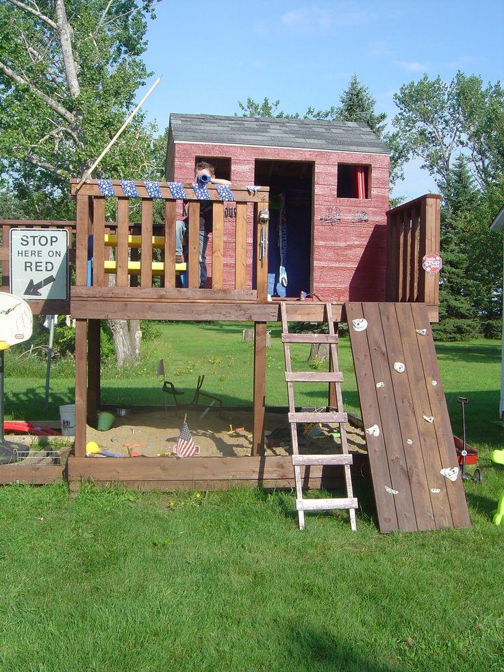 Kids fort swing set climbing rocks ladder slide  Fort