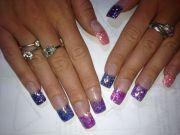 glitter pink purple blue acrylic