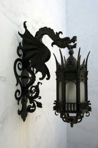 Black wrought iron dragon lanterns for either indoor ...