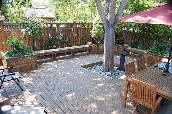 timbertech deck benching redwood