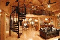 Modern Log Home Interior, spiral staircase to loft ...