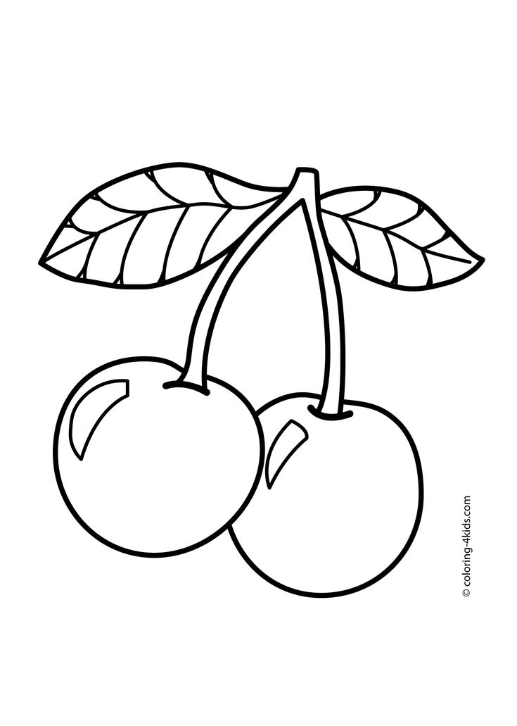 Cherry Fruits coloring pages for kids, printable free