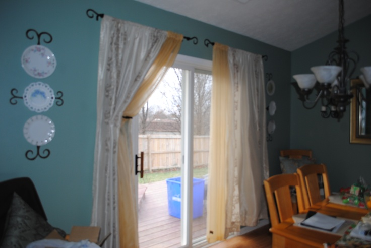 Double Curtain Rod over sliding glass door  Household