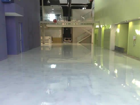 Faux White Marble polished concrete floor WANT