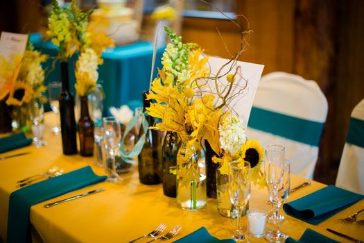 A fall wedding with a color palette of mustard yellow teal and turquoise image Amy Caroline