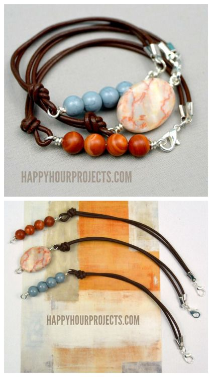 DIY Leather Bead Bracelet Tutorial from Happy Hour Projects.This…