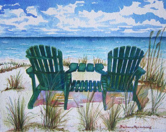 Beach Painting Beach Chair Art Print Beach Decor Beach