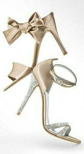 Stuart Weitzman ~ 2014 Champagne Wedding Shoes w Ankle Bow