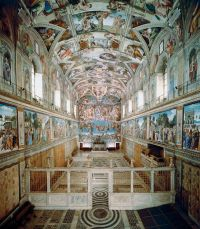 75. Sistine Chapel ceiling and altar wall frescoes ...
