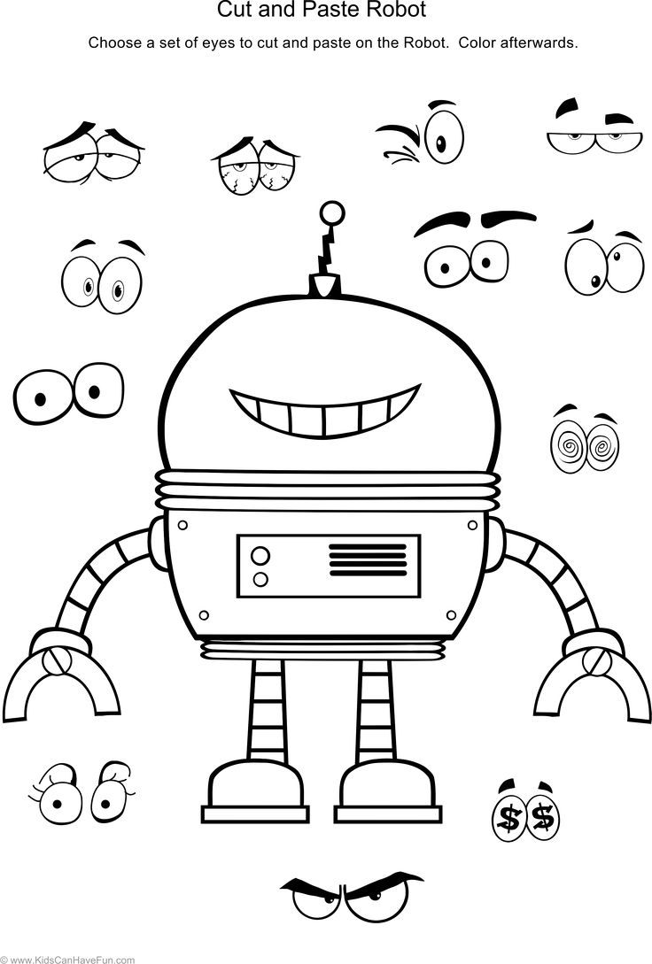 Cut and Paste Robot Worksheet http://www.kidscanhavefun