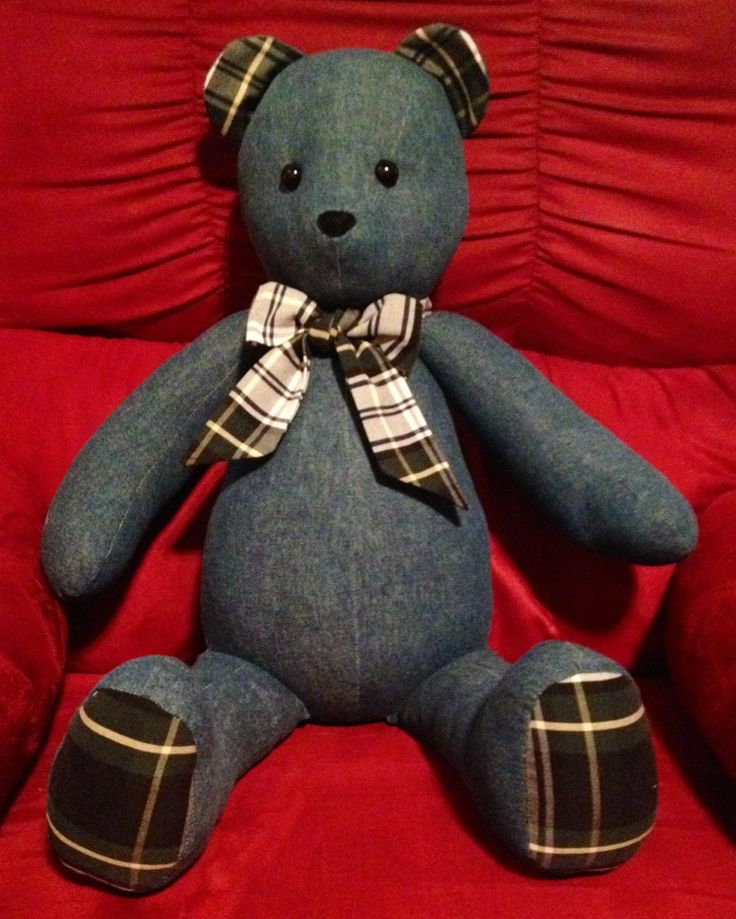 Teddy bear made from grandmas recycle jean capris and