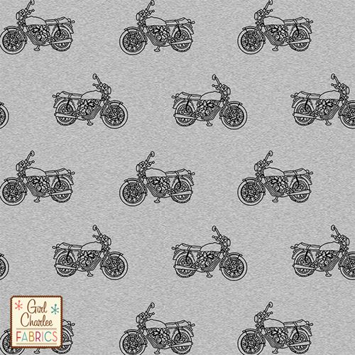 Vintage Motorcycle on Heather Gray Cotton Jersey Blend