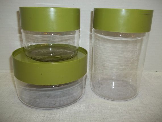 Vintage Set of Three Pyrex Avocado Green Glass Canisters