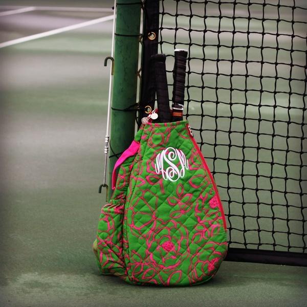Preppy Pink  Green Tennis Backpack My tennis bag is
