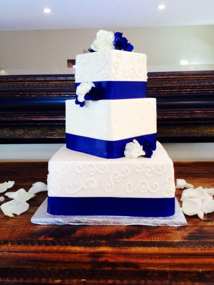 Wedding Cake Blue Ribbon White Flowers Wedding