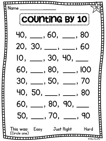 Counting Forwards And Backwards Worksheets 1st Grade