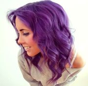 purple curly hair colorfully