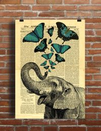 Elephant Jumbo Circus Butterfly Collage Old Newspaper