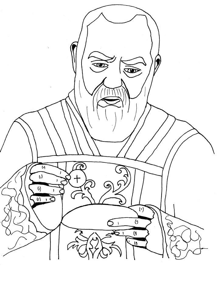 Padre Pio Catholic Coloring page. St. Pio's feast day is