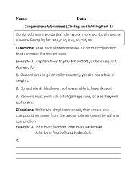 Englishlinx.com   Conjunctions Worksheets   Englishlinx ...