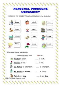 Personal pronouns - worksheet - kindergarten level   Learn ...