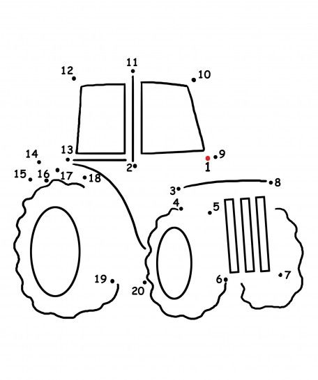 FREE Dot to Dot Tractor Coloring Page + a farm song