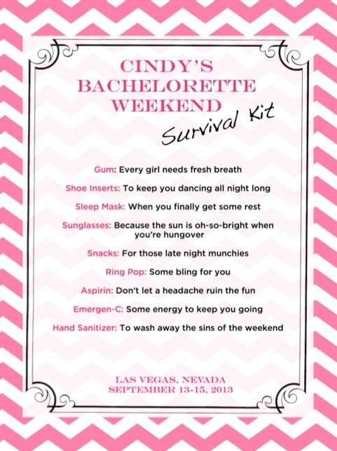 Bachelorette Survival Kit Found on Weddingbeecom Share