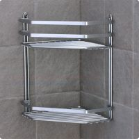Satina chrome double corner shower caddy shelf basket ...
