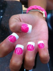 sola nail hot pink and white tip
